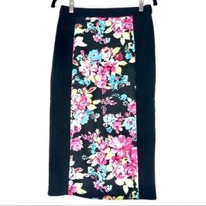 Beautiful black and floral pencil skirt